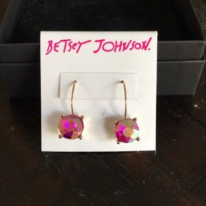 """Calypso Betsey"" Pink Faceted Stone Drop Earrings"